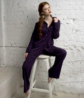 Пижамный комплект Effetto из рубашки с длинным рукавом и брюк фиолетовый