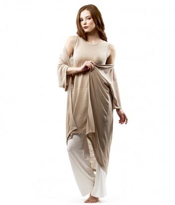 Бежевый костюм тройка Effetto 0331 майка-платье, брюки прямого кроя и халат с рукавом 3/4