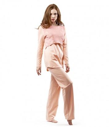 Домашний костюм Effetto брюки прямого кроя и кофта с имитацией короткой накидки розовый