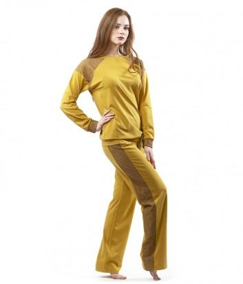 Домашний костюм Effetto боковая часть брюк и рукава украшены кружевом горчичный