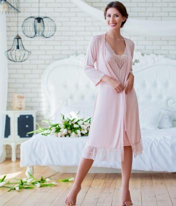 Женская ночная рубашка Effetto 0256 на тонких бретелях цвета пудры