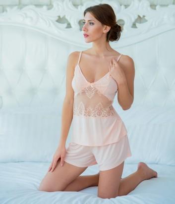 Пижама женская Effetto на тонкой бретели с кружевом персиковая