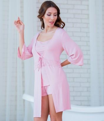 Женская пижама Effetto 0237 из маечки и шортиков пудрового цвета