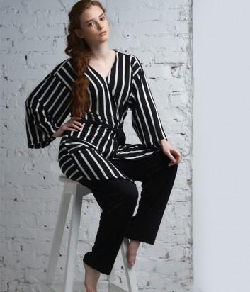 Пижамный комплект Effetto 0344 из кардигана и прямых свободных брюк в полоску