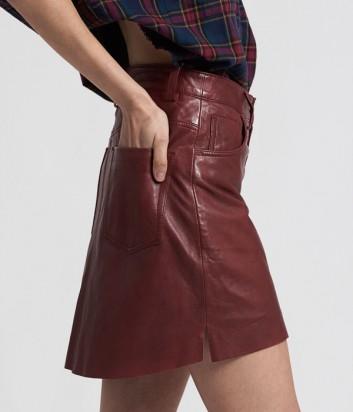 Кожаная юбка One Teaspoon 21393 бордовая