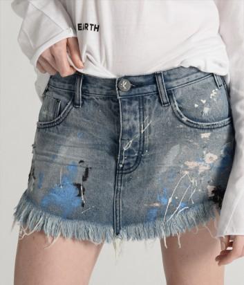 Джинсовая юбка One Teaspoon 21430 с декором голубая