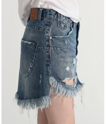 Джинсовая юбка One Teaspoon 21340 на пуговицах сине-голубая