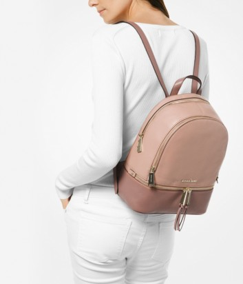 Средний кожаный рюкзак Michael Kors Rhea в пудрово-бежевых тонах