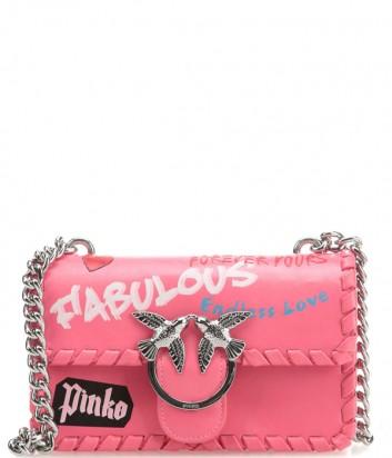 Коралловая кожаная сумка PINKO Love Bag 1P21BS с надписями