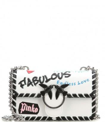 Белая кожаная сумка PINKO Love Bag 1P21BS с надписями