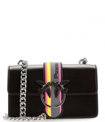 Черная кожаная сумка PINKO Love Bag 1P21B8 с цветным откидным клапаном