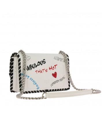 Белая кожаная сумка PINKO Love Bag 1P21DD с надписями