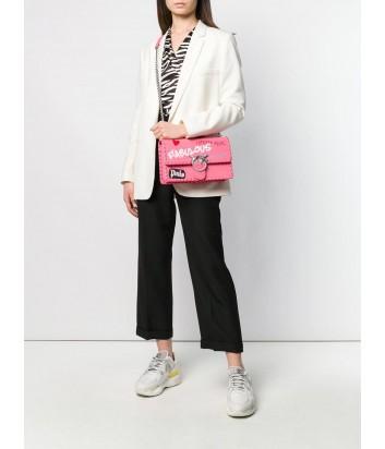 Коралловая кожаная сумка PINKO Love Bag 1P21DD с надписями