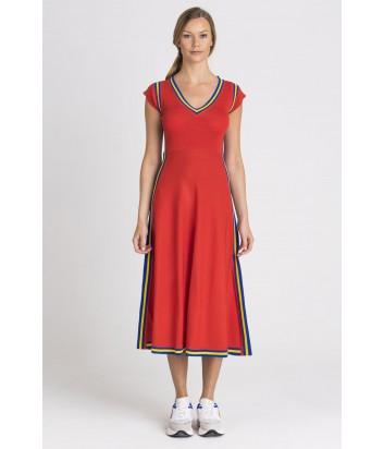 Красное платье PINKO 1G143X с желто-синими полосками