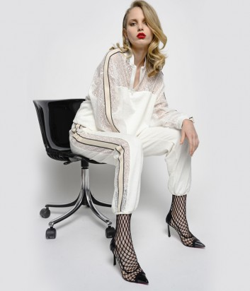 Кремовый женский костюм PINKO 1C1010 с ажурными вставками