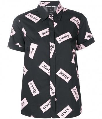 Черная хлопковая рубашка PINKO 3U10K1 с коротким рукавом