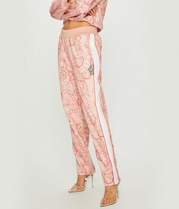 Розовые штаны PINKO 1G13WX с лампасами и цветочным принтом