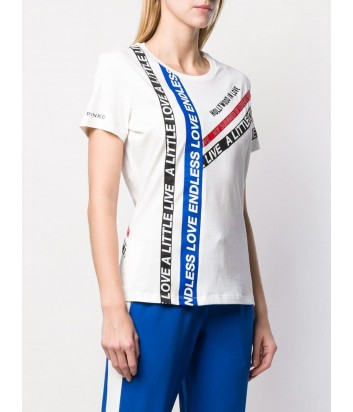 Белая хлопковая футболка PINKO 1G13YG с ярким принтом