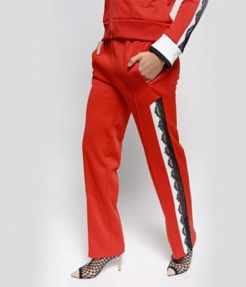 Женские красные брюки PINKO 1G13SH с кружевом по бокам