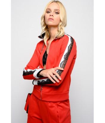 Женская красная олимпийка PINKO 1G13SJ с кружевом на рукавах