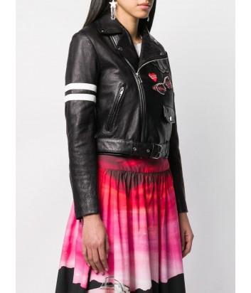 Черная кожаная байкерская куртка PINKO 3U10J5 с цветными нашивками
