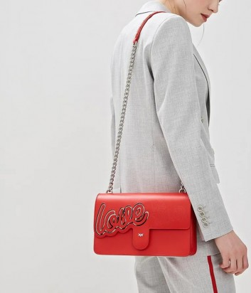 Красная кожаная сумка PINKO Love Bag 1P21AD с надписью