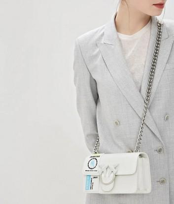 Белая кожаная сумка PINKO Love Bag 1P21CG с надписями