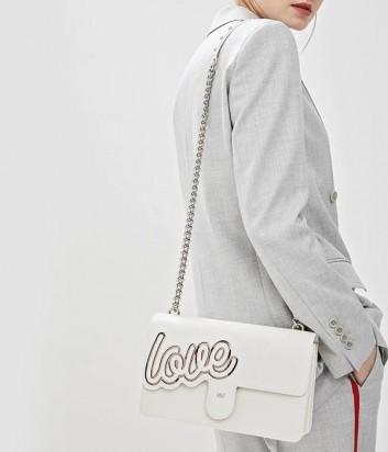 Белая кожаная сумка PINKO Love Bag 1P21AD с надписью
