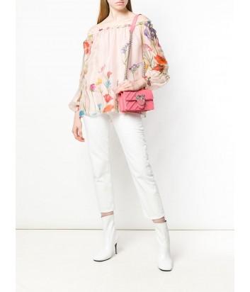 Коралловая кожаная сумка PINKO Love Bag 1P21AA в тисненую полоску