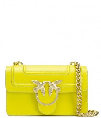 Кожаная сумка PINKO Love Bag 1P21AF с откидным клапаном ярко-желтая