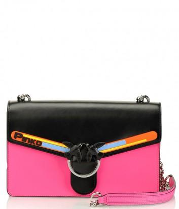 Кожаная сумка PINKO Love Bag 1P21AX с откидным клапаном черно-розовая