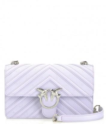 Лиловая кожаная сумка PINKO Love Bag 1P21A9 в тисненую полоску