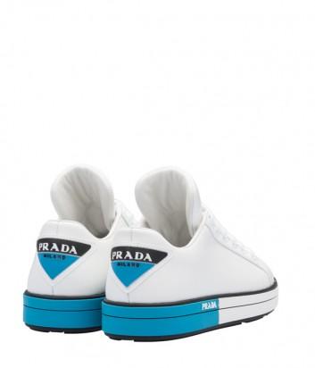 Белые кожаные кеды Prada с синими вставками