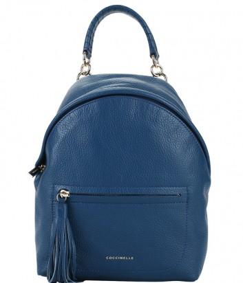 Большой кожаный рюкзак Coccinelle Leonie сапфирового цвета