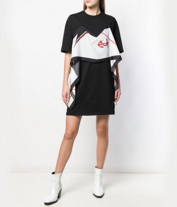 Черное платье MSGM 2641MDA63 декорированное платком с ярким принтом