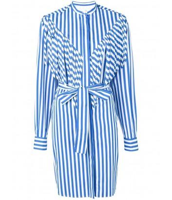 Платье-рубашка MSGM 2641MDE11 с бахромой в бело-голубую полоску