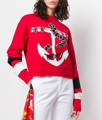 Красный свитер MSGM 2641MDM132 с крупным принтом в виде якоря