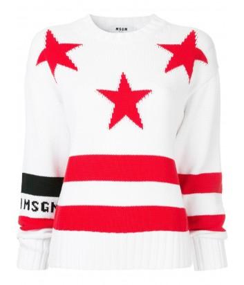 Белый свитер MSGM 2641MDM139 с красным звездным принтом