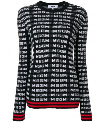 Кофта с длинным рукавом MSGM 2641MDM139 черная в мелкий лого-принт
