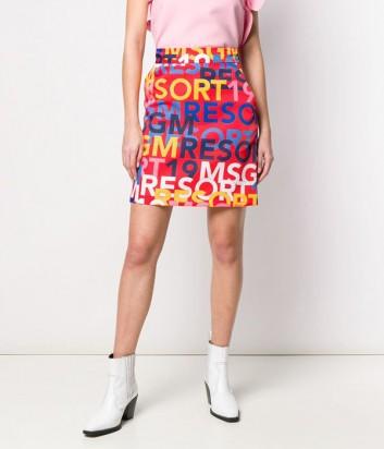Алая юбка MSGM 2641MDD30 с цветным ярким принтом