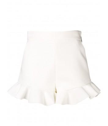 Белые шорты MSGM 2641MDB44T декорированные рюшами
