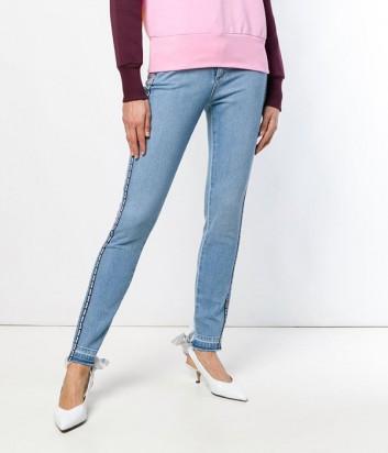 Голубые джинсы MSGM 2641MDP52L с лого на лампасах по бокам