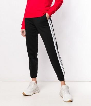 Черные штаны MSGM 2641MDP63 с белыми лампасами по бокам