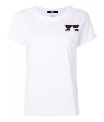 Белая футболка Karl Lagerfeld 76KW1727 с карманчиком и аппликацией