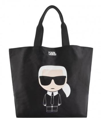 Большая сумка-шоппер Karl Lagerfeld 86KW3124 черная с ярким принтом