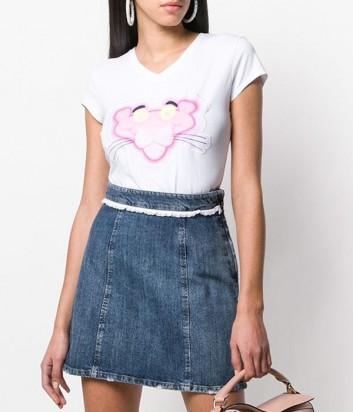 Белая футболка ICEBERG 816309 с изображением розовой пантеры