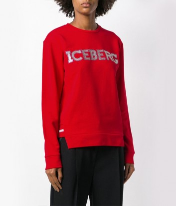 Красная толстовка ICEBERG 216300 с логотипом и заклепками