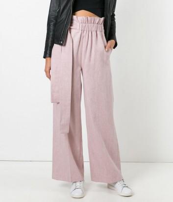 Розовые брюки MSGM 174104 с эластичным поясом из комбинации хлопка и льна