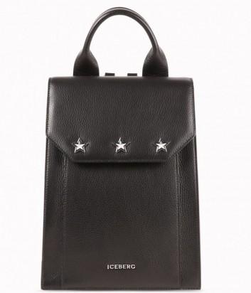 Черный кожаный рюкзак ICEBERG декорированный заклепками в виде звезд