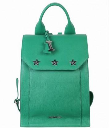 Зеленый кожаный рюкзак ICEBERG декорированный заклепками в виде звезд